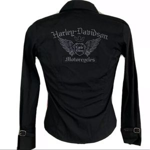 Harley Davidson Shirt Blouse Full Zip Cycle Queen